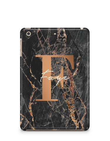 Personalised Slate Marble Bronze Initial iPad Case