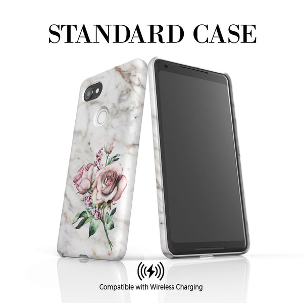 Personalised Floral Rose x Marble Initials Google Pixel 2 XL Case