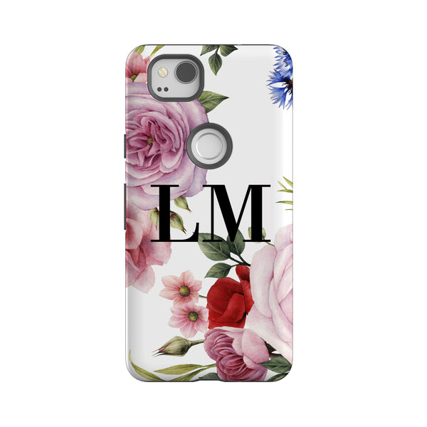 Personalised Floral Blossom Initials Google Pixel 2 Case