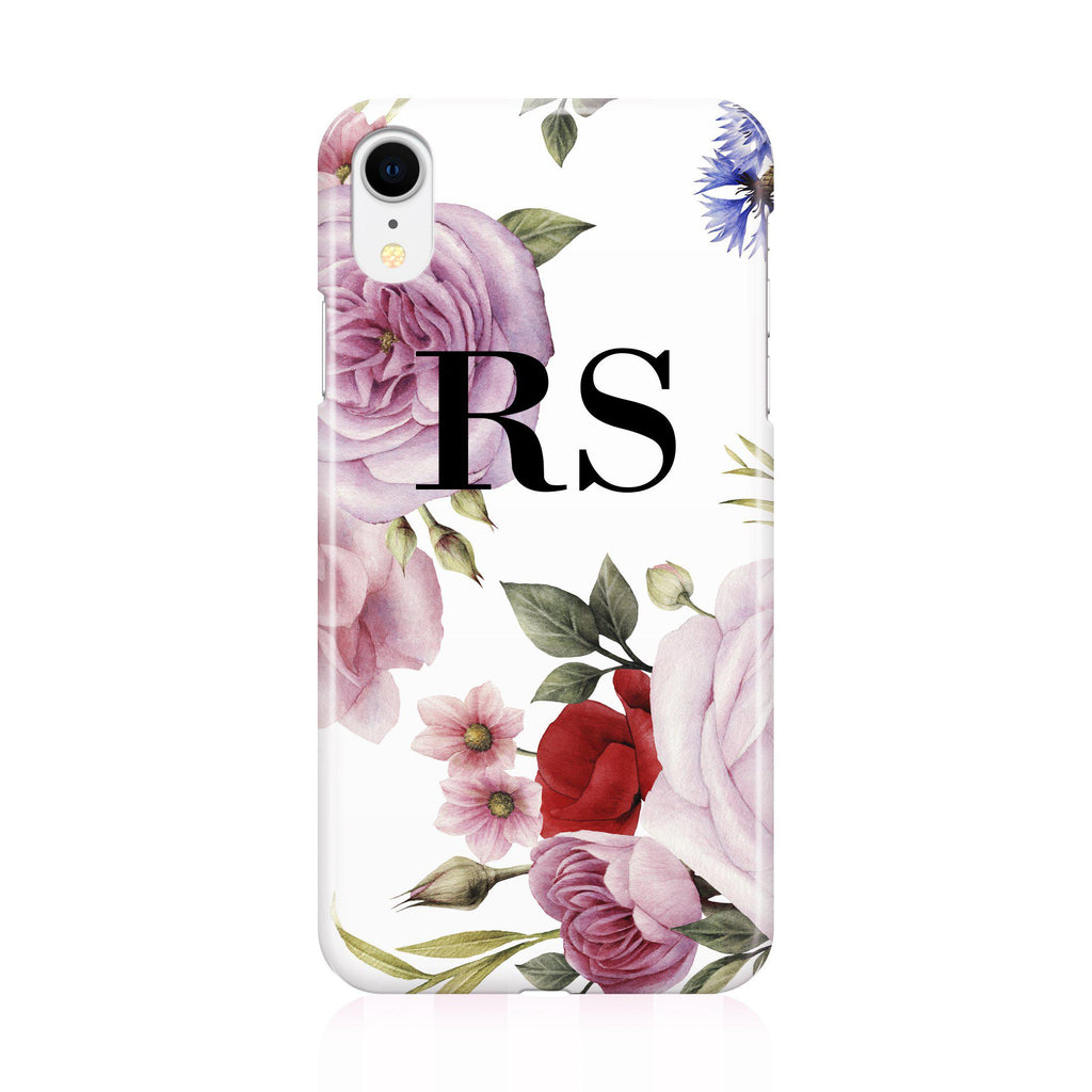Personalised Floral Blossom Initials iPhone XR Case