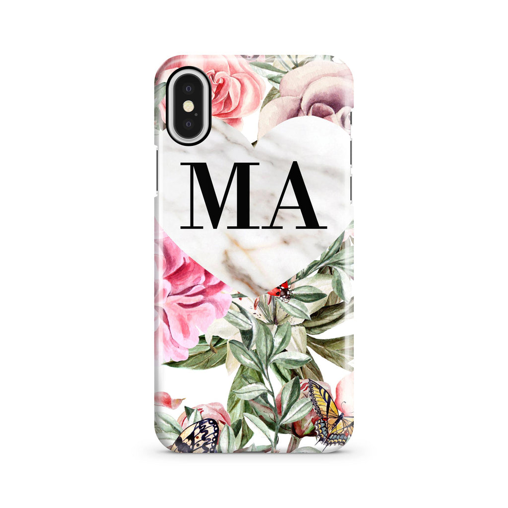 Personalised Floral Marble Heart Initials iPhone X Case