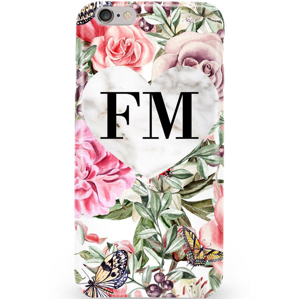 Personalised Floral Marble Heart Initials iPhone 6/6s Case