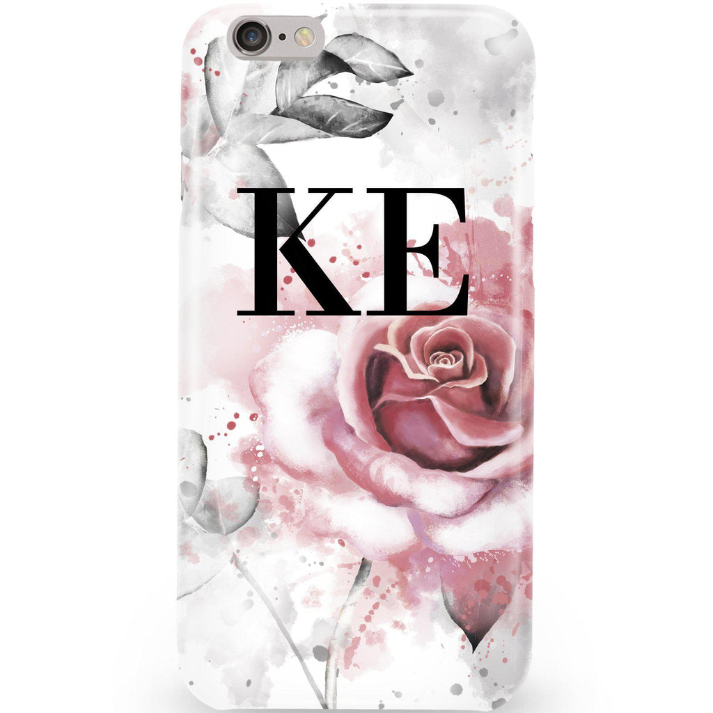 Personalised Floral Rose Initials Phone Case