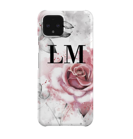 Personalised Floral Rose Initials Google Pixel 4XL Case