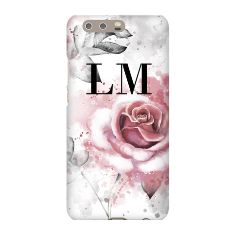 Personalised Floral Rose Initials Huawei P10 Plus Case
