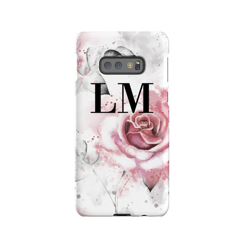 Personalised Floral Rose Initials Samsung Galaxy S10e Case
