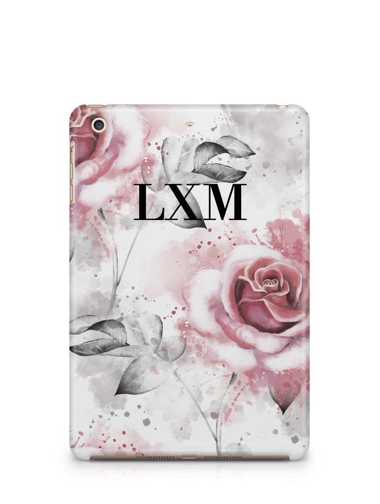 Personalised Floral Rose Initials iPad Case