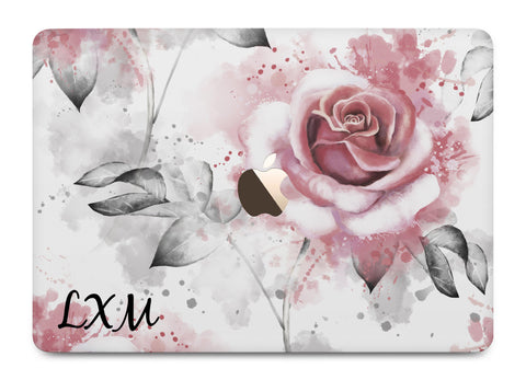 Personalised Floral Rose Initials MacBook Case