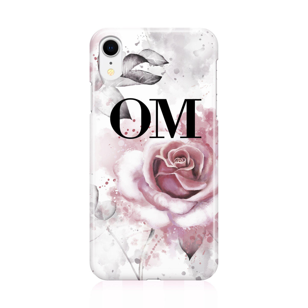 Personalised Floral Rose Initials iPhone XR Case
