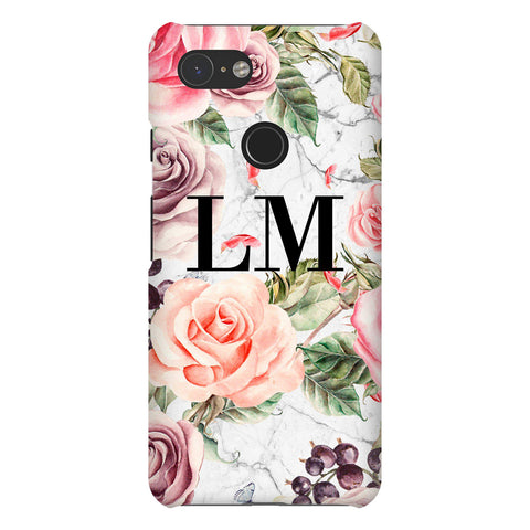 Personalised Watercolor Floral Initials Google Pixel 3 Case