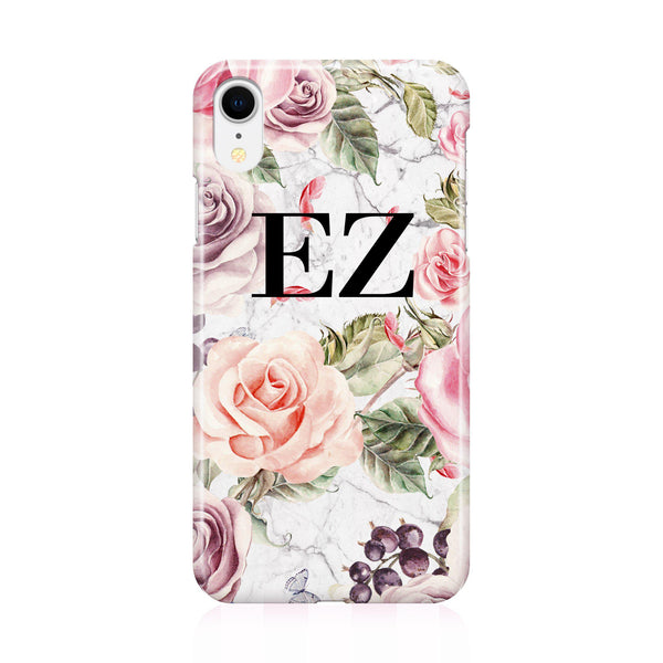 Personalised Watercolor Floral Initials iPhone XR Case