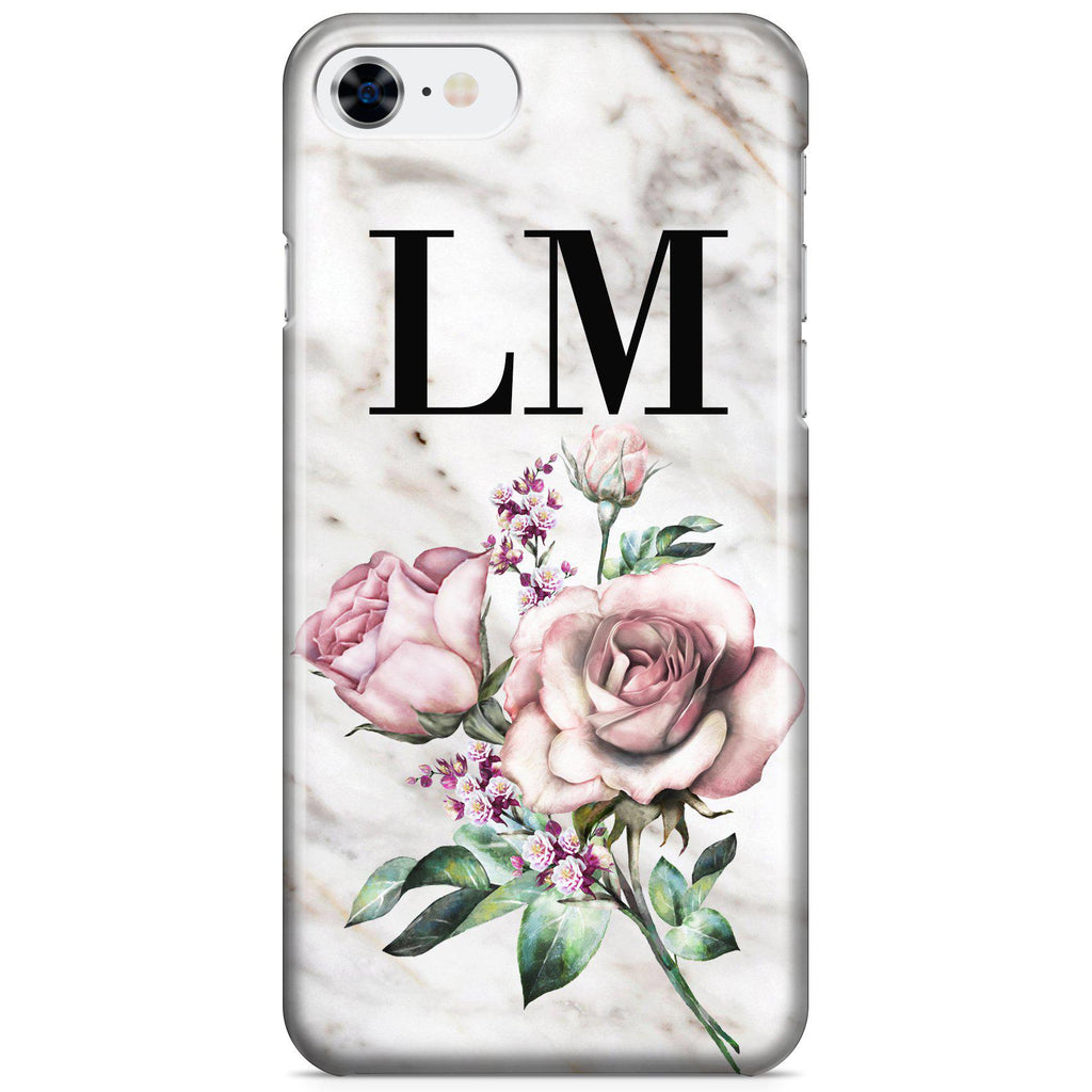 Personalised Floral Rose x Marble Initials iPhone 8 Case