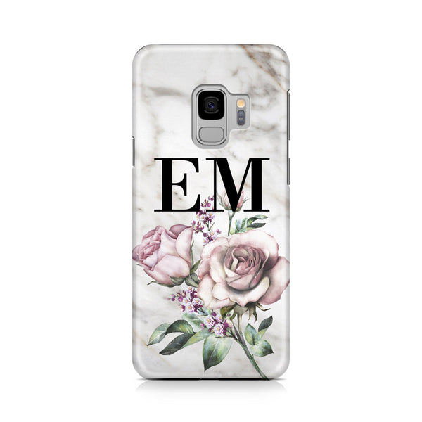 Personalised Floral Rose x Marble Initials Samsung Galaxy S9 Case