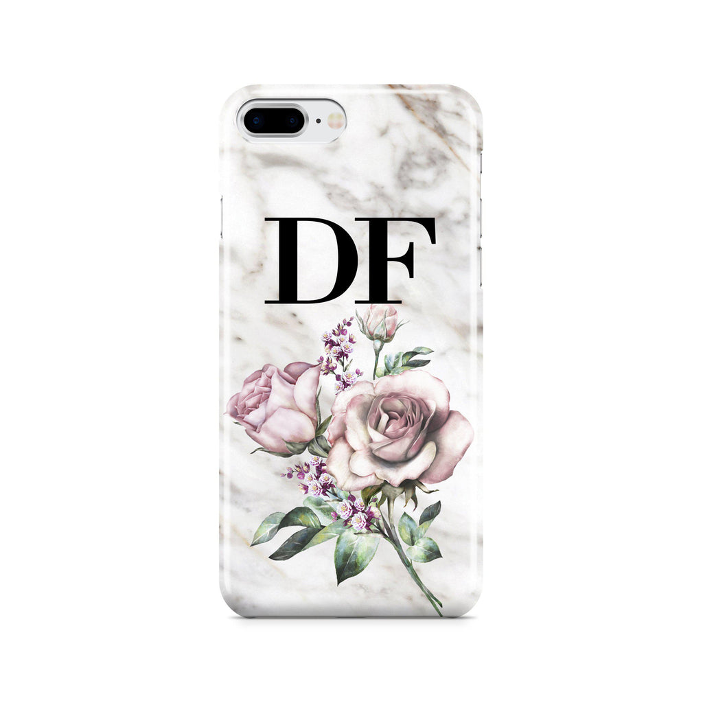 Personalised Floral Rose x Marble Initials iPhone 8 Plus Case