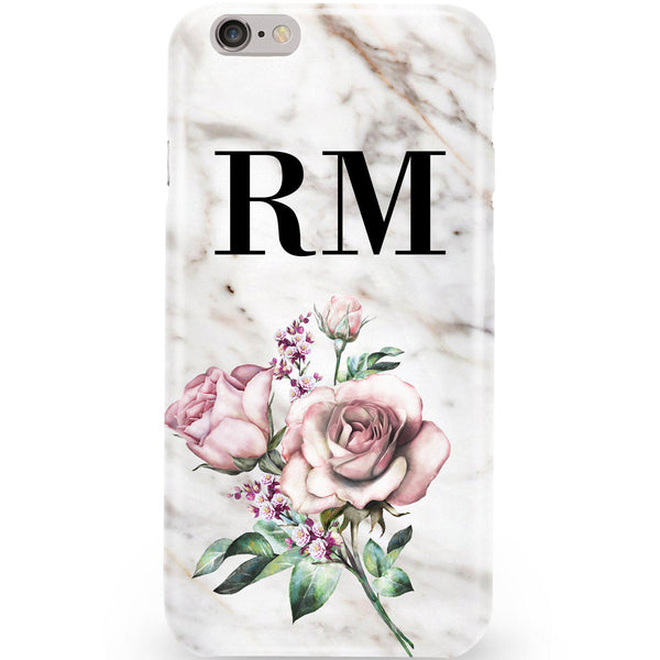 Personalised Floral Rose x Marble Initials iPhone 6/6s Case