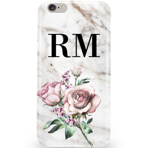 Personalised Floral Rose x Marble Initials Phone Case