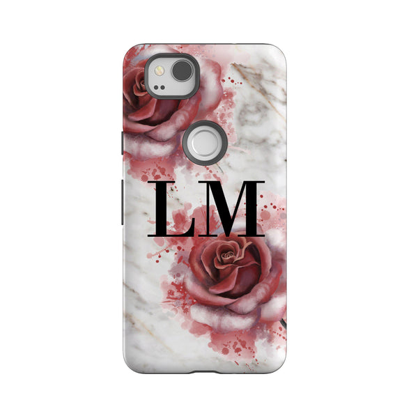 Personalised Floral Rose x White Marble Initials Google Pixel 2 Case