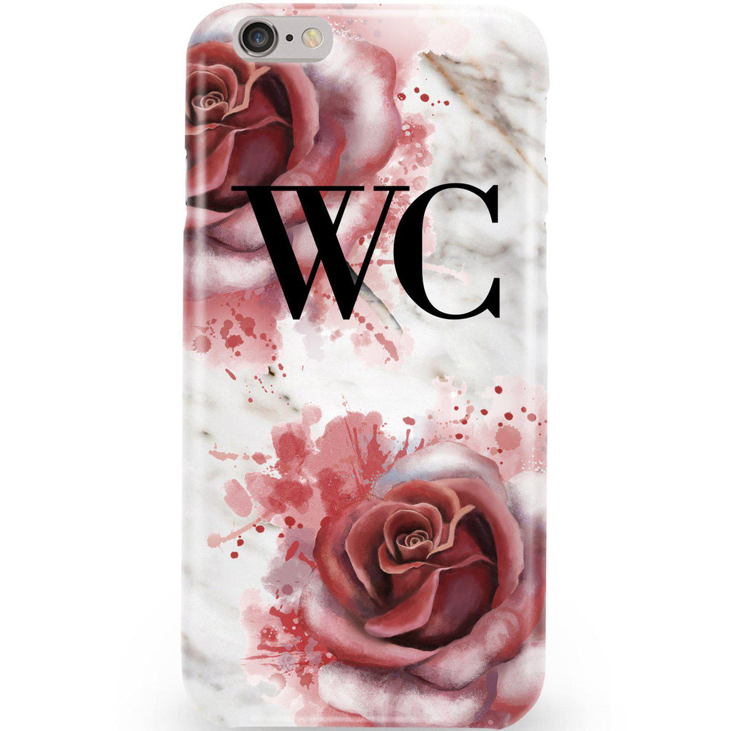 Personalised Floral Rose x White Marble Initials iPhone 6/6s Case