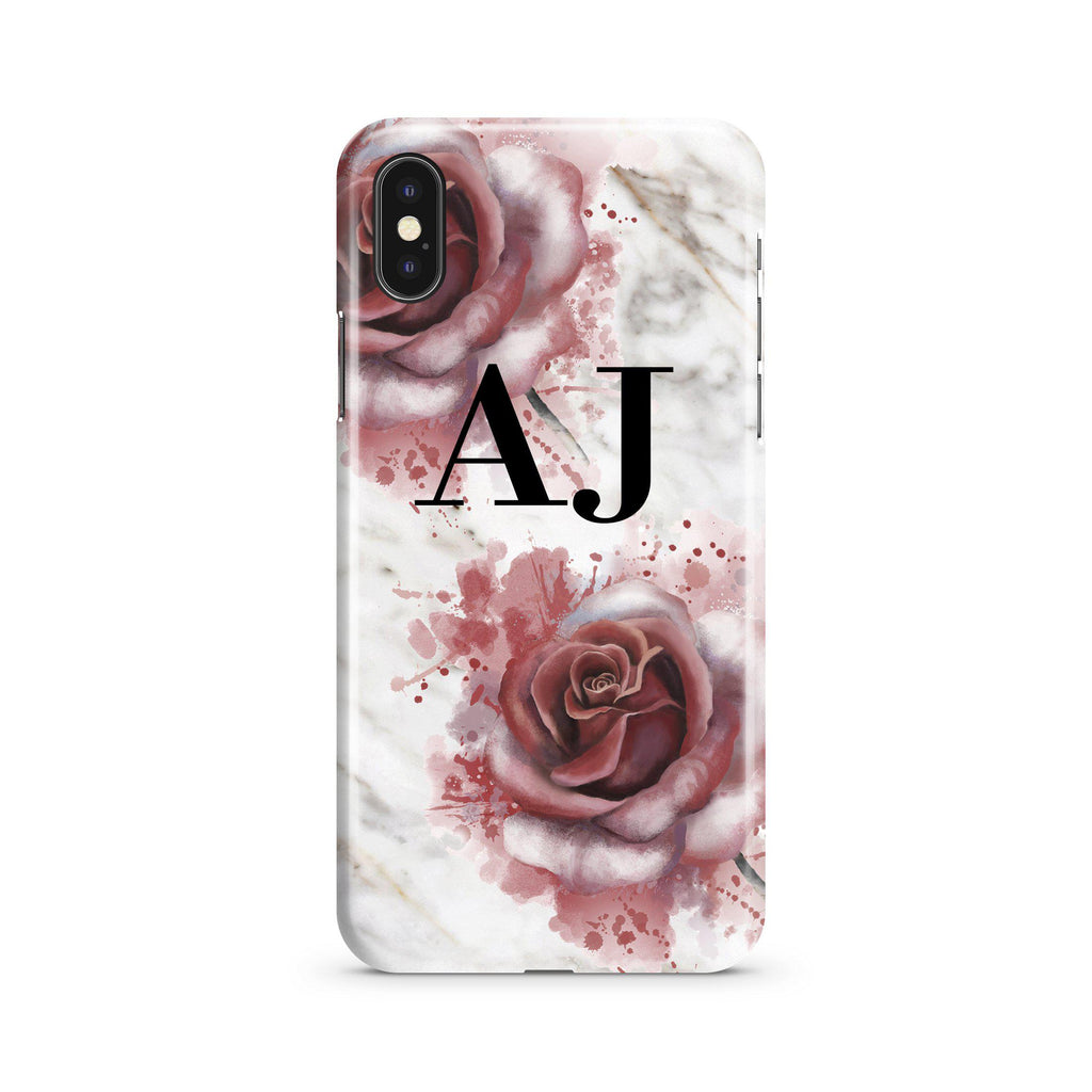 Personalised Floral Rose x White Marble Initials iPhone XS Case