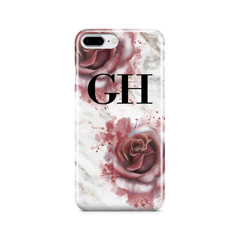 Personalised Floral Rose x White Marble Initials iPhone 8 Plus Case