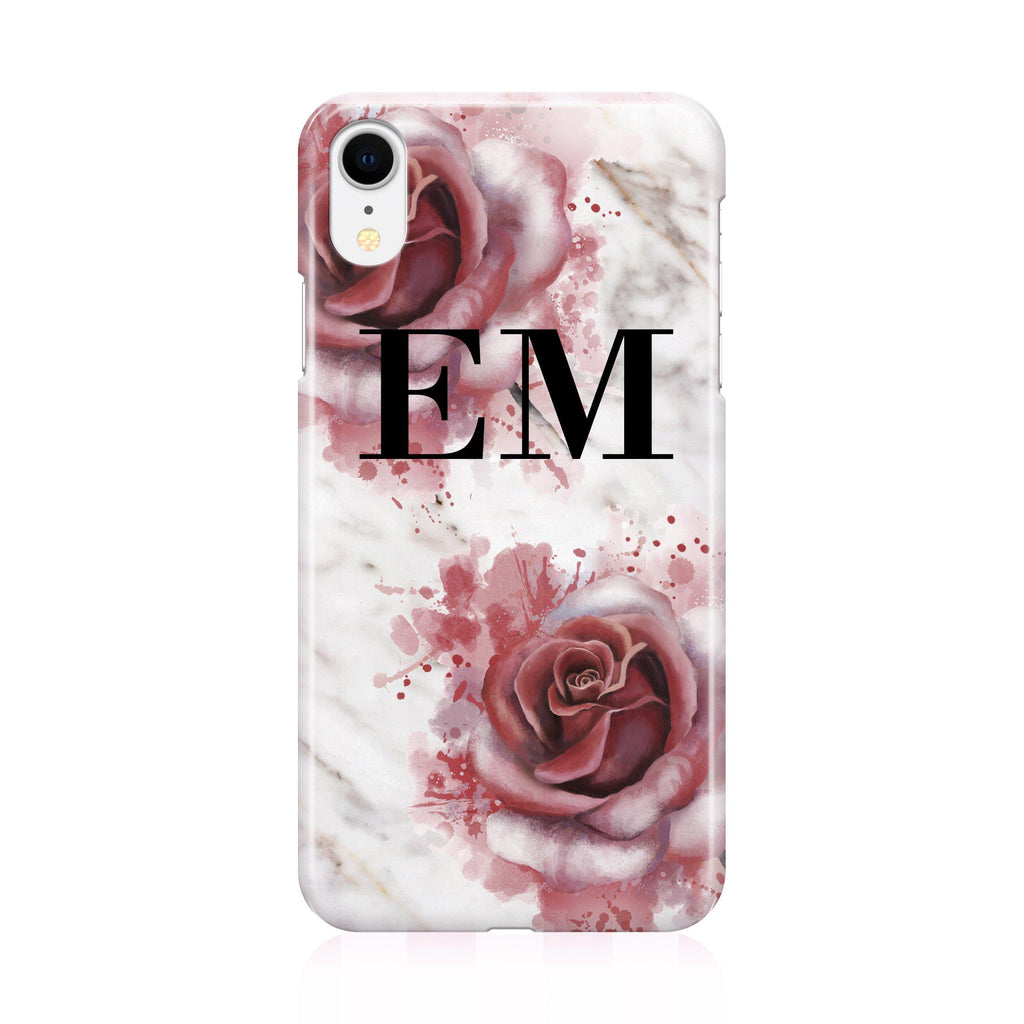 Personalised Floral Rose x White Marble Initials iPhone XR Case