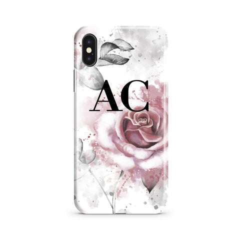 Personalised Floral Rose Initials iPhone XS Max Case