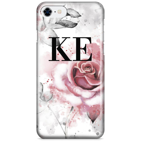 Personalised Floral Rose Initials iPhone SE Case