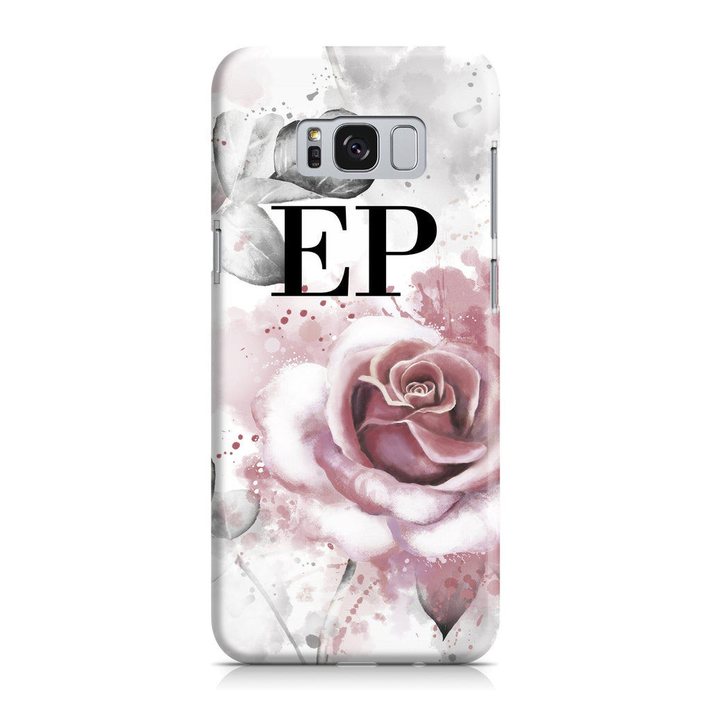 Personalised Floral Rose Initials Samsung Galaxy S8 Plus Case