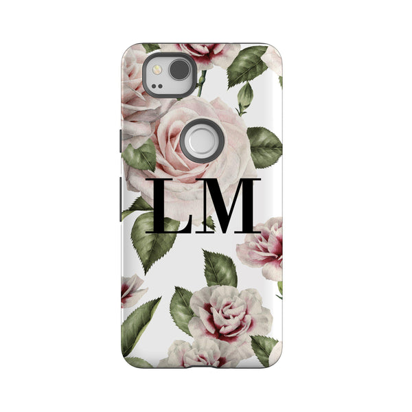 Personalised White Floral Rose Initials Google Pixel 2 Case