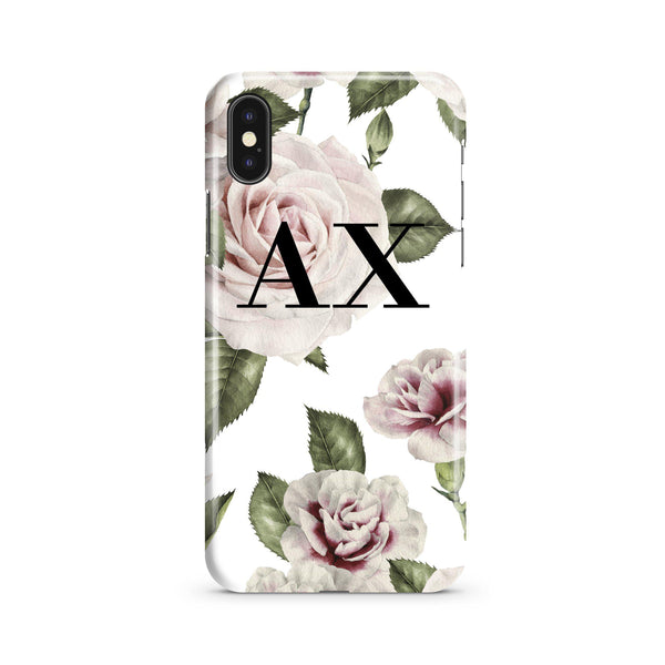 Personalised White Floral Rose Initials iPhone XS Max Case
