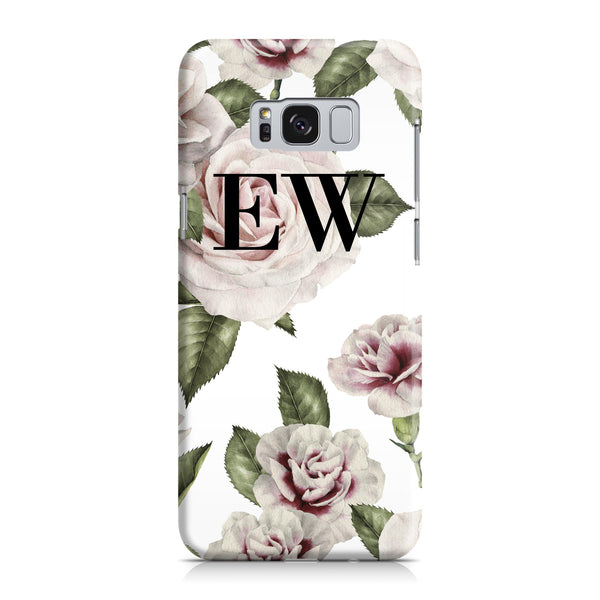 Personalised White Floral Rose Initials Samsung Galaxy S8 Plus Case