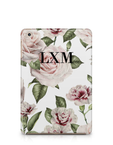 Personalised White Floral Rose Initials iPad Case