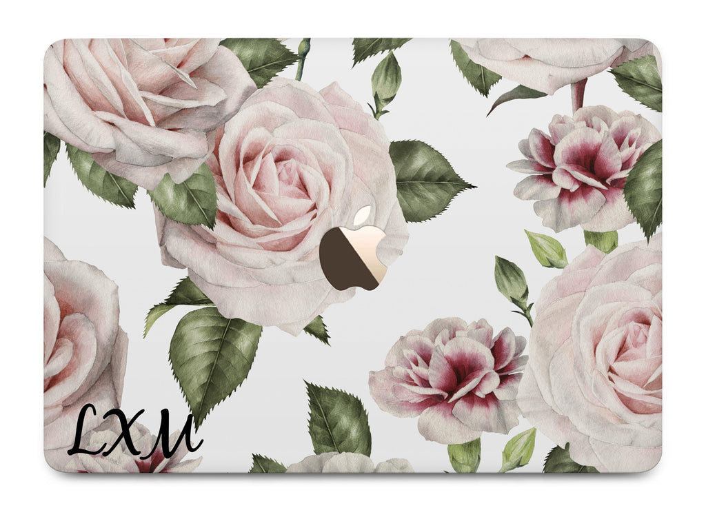 Personalised Floral White Rose Initials MacBook Case