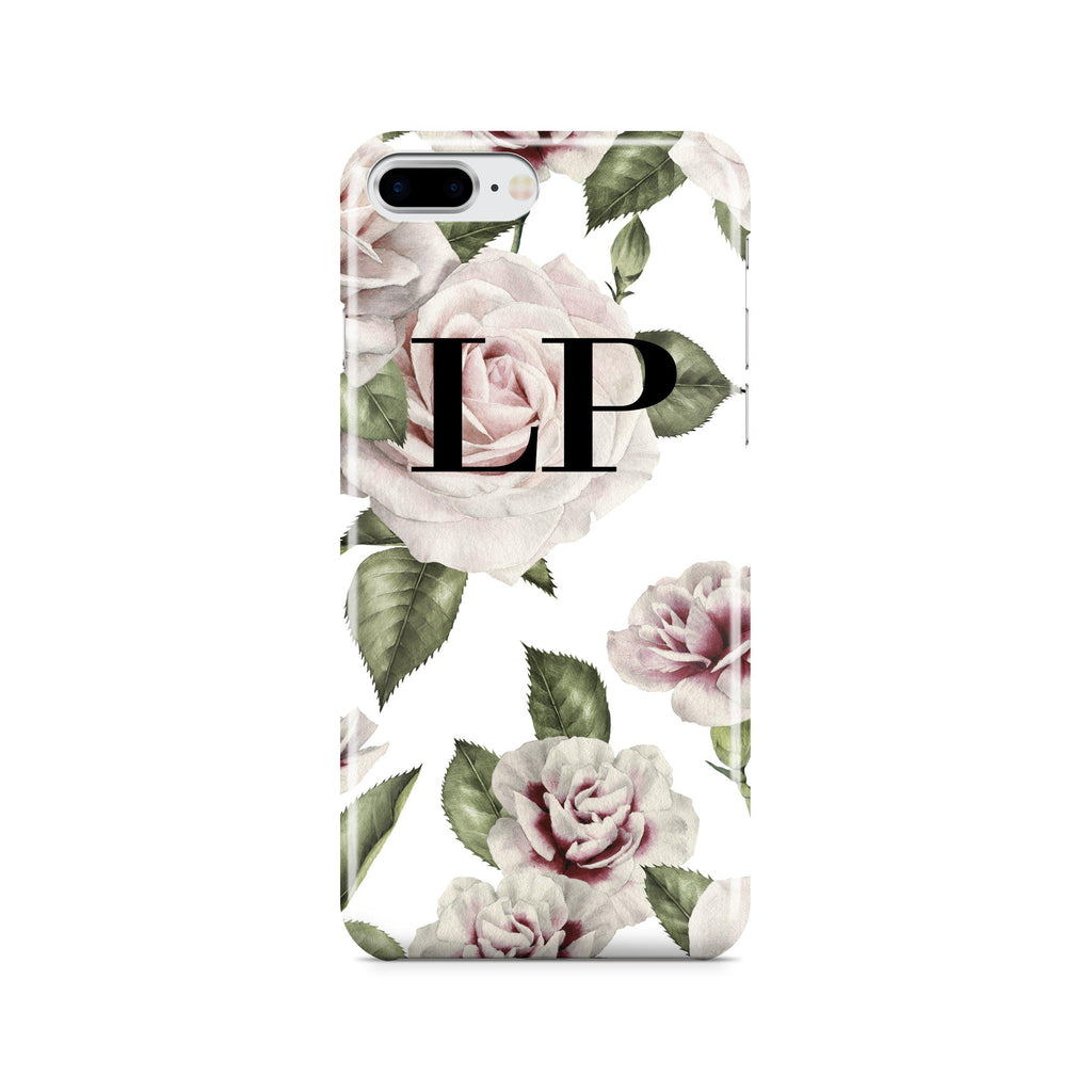 Personalised White Floral Rose Initials iPhone 8 Plus Case