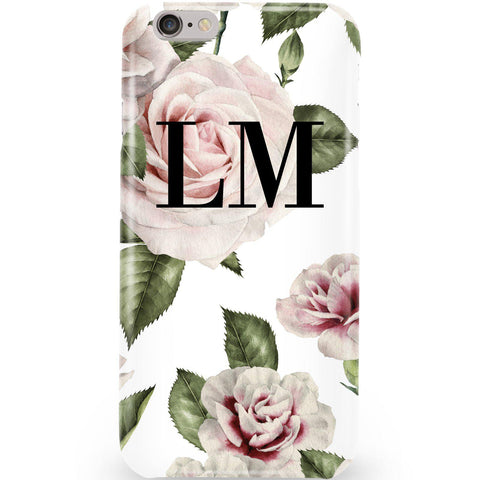 Personalised White Floral Rose Initials Phone Case