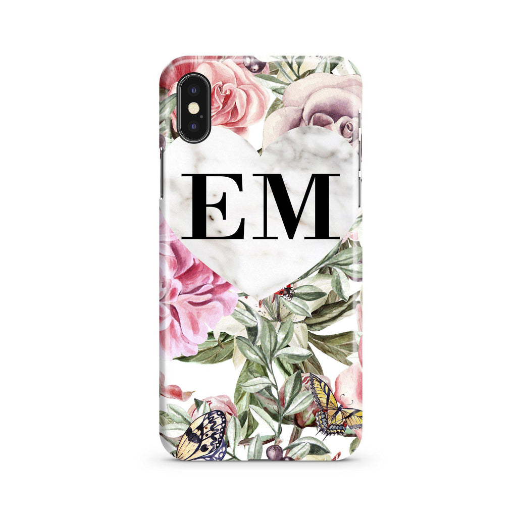 Personalised Floral Marble Heart Initials iPhone XS Max Case