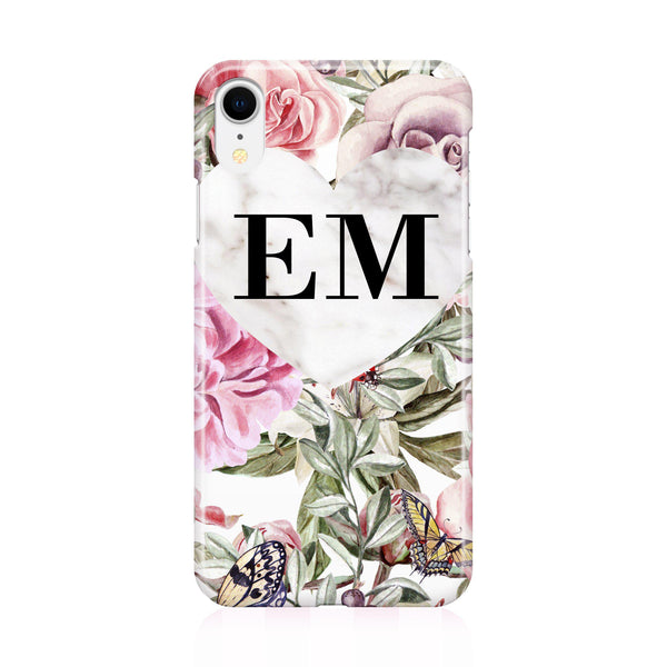 Personalised Floral Marble Heart Initials iPhone XR Case