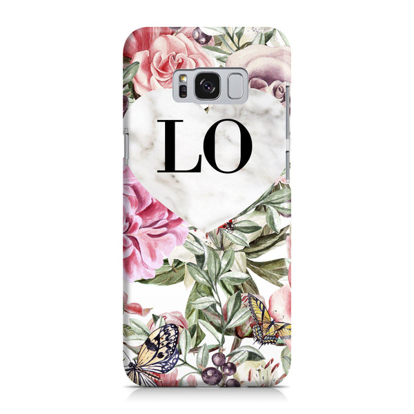 Personalised Floral Marble Heart Initials Samsung Galaxy S8 Case