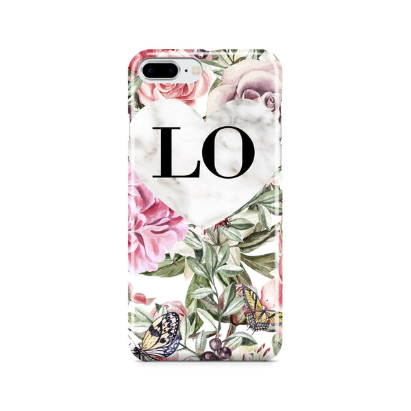 Personalised Floral Marble Heart Initials iPhone 8 Plus Case