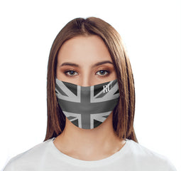 Personalised Black Union Jack Initials Reusable Face Mask