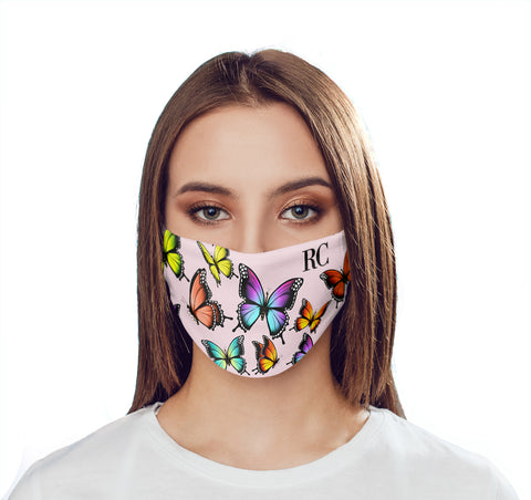 Personalised Butterfly Initials Face Mask