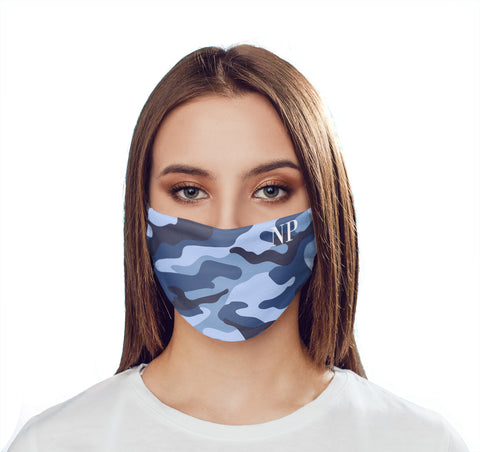 Personalised Cobalt Blue Camo Initials Face Mask