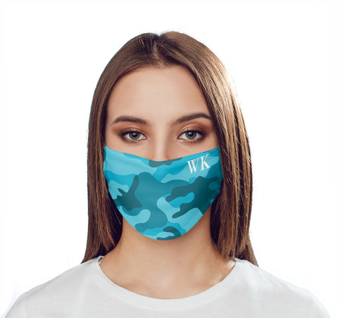 Personalised Cyan Camo Initials Face Mask