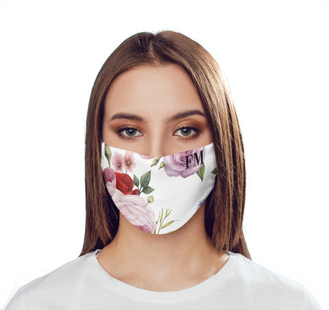 Personalised Floral Blossom Initials Face Mask