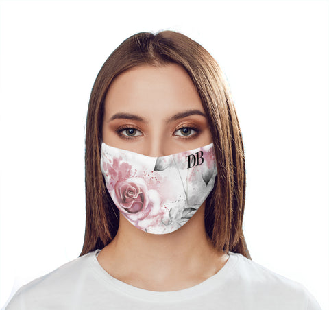 Personalised Floral Rose Initials Face Mask