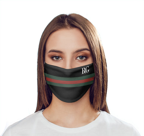 Personalised Green x Red Stripe Initials Face Mask