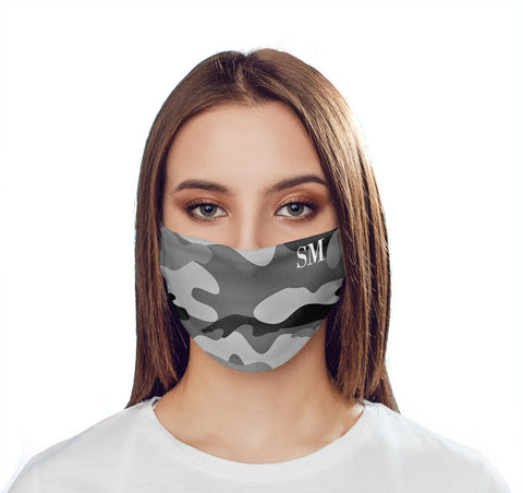 Personalised Grey Camo Initials Face Mask
