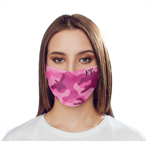 Personalised Hot Pink Camo Initials Face Mask