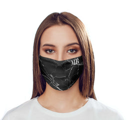 Personalised Black Marble Initials Reusable Face Mask