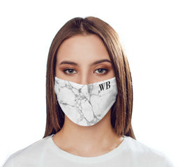 Personalised White x Black Marble Initials Reusable Face Mask